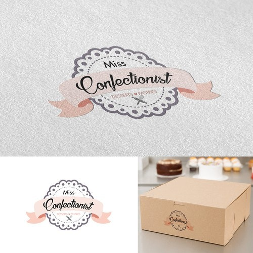 """Patisserie logo with the title '""""Miss Confectionist"""" desserts and pastries logo'"""