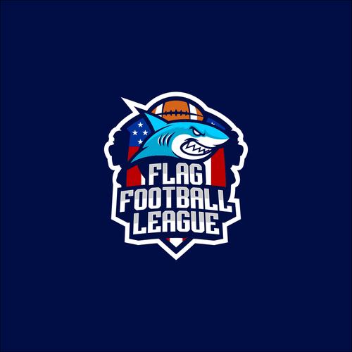 Shark t-shirt with the title 'Flag Footbal League'