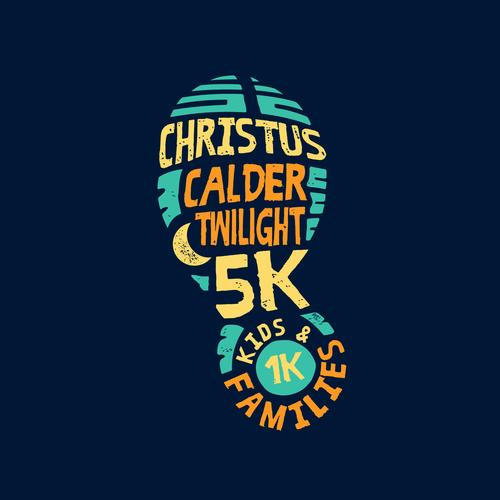 Family logo with the title 'CHRISTUS Calder Twilight 5K Logo'