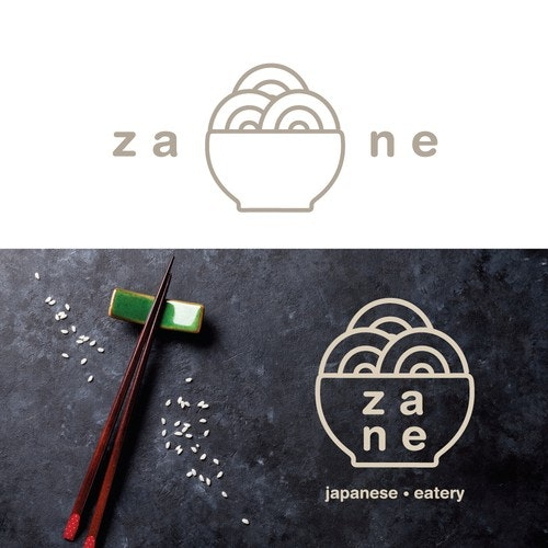 Asian food logo with the title 'Modern Logo for Japanese Eatery'