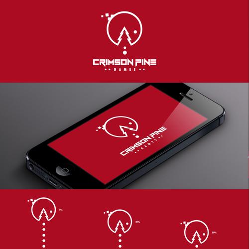 Pine tree logo with the title 'Create logo for game developer Crimson Pine'