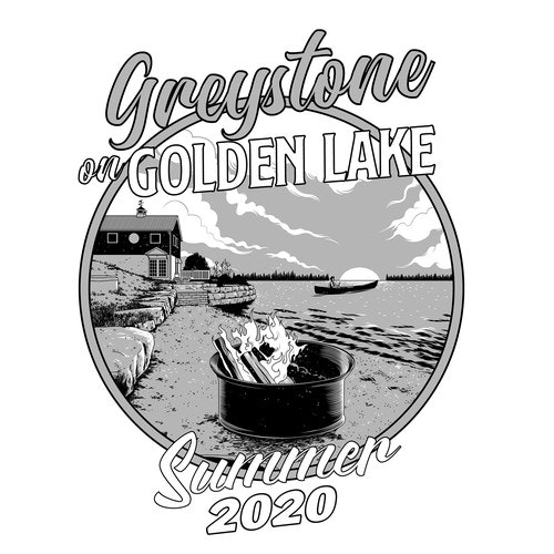 Black and white t-shirt with the title 'Greystone on Golden Lake'