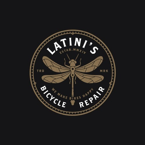 Retro logo with the title 'Latini's Bicycle Repair'