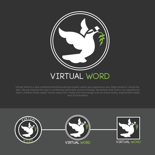 Virtual logo with the title 'Virtual Word logo design'