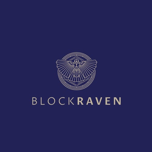 Raven logo with the title 'Modern and sophisticated concept for cryptocurrency agency'