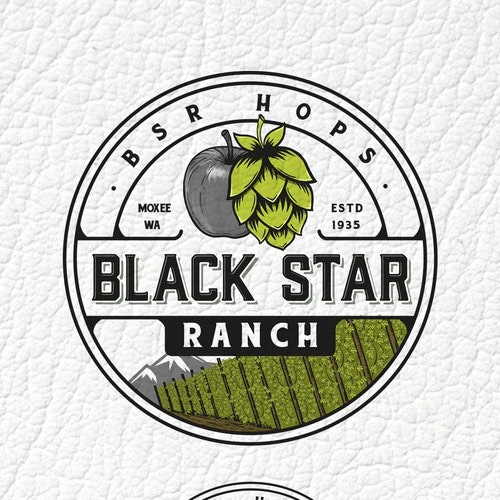 Field logo with the title 'Black Star Ranch, BSR hops'