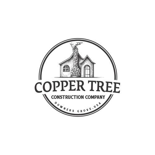 Construction logo with the title 'Copper Tree Construction Company'