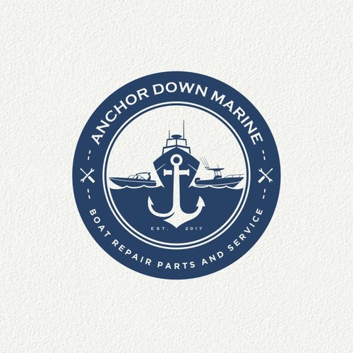 Anchor logo with the title 'Anchor Down Marine Logo'