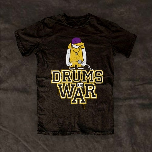 Sketch t-shirt with the title 'drums of war'