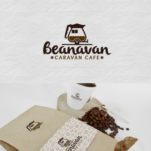 Creative design logo with the title 'beanavan caravan cafe'