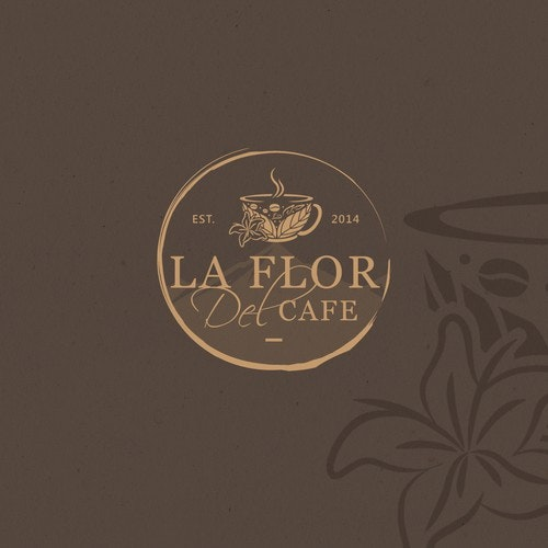 Cafe logo with the title 'La Flor Del Cafe (The Coffee's Flower)'