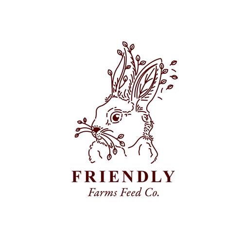 Rabbit logo with the title 'Rabbit + leaves illustration.'