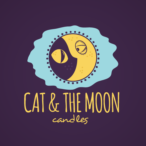 Candle logo with the title 'Cat And Moon Logo'