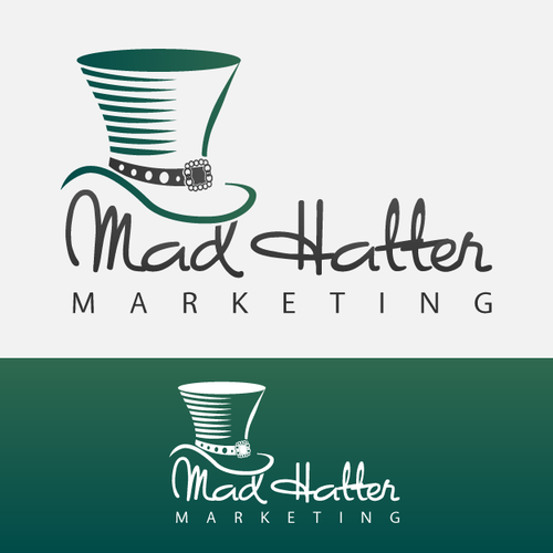 Top hat logo with the title 'Mad Hatter Marketing Logo'