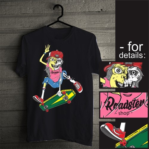 Skate t-shirt with the title 'skull skater illustration'