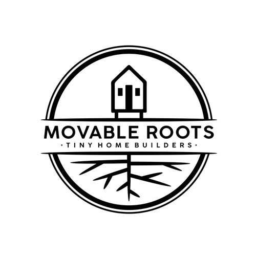 Root logo with the title 'Logo Design for Movable Roots - Tiny Home Builders'