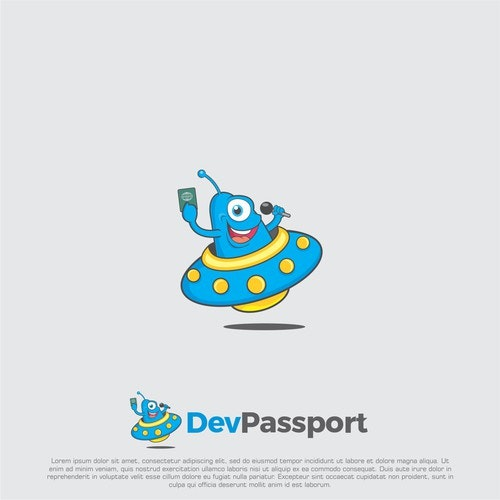 UFO logo with the title 'Logo concept for devpassport'