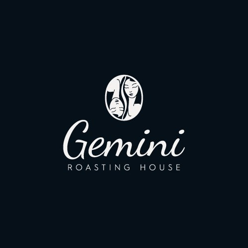 Coffee logo with the title 'Gemini - Roasting house'