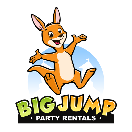 Kangaroo logo with the title 'Playful logo for party rentals'