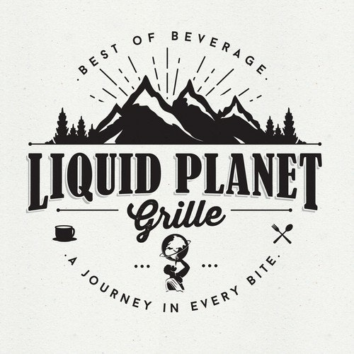Black and white logo with the title 'LIQUID PLANET GRILLE'