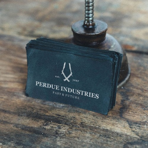 Masculine logo with the title 'Perdue Industries'