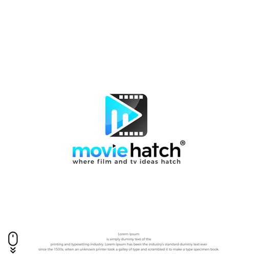 Presentation logo with the title 'powerful logo for MovieHatch®'