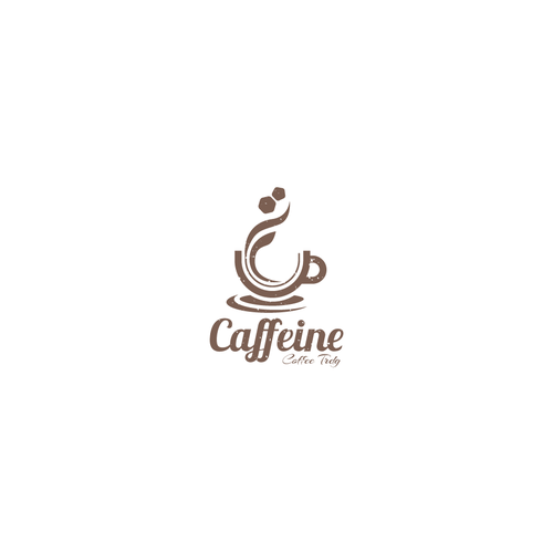 Steam logo with the title 'Caffeine Logo Design'