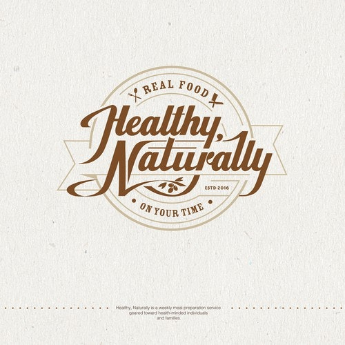 """Natural product logo with the title 'Logo for Healthy, Naturally - a """"real food"""" meal prep company'"""
