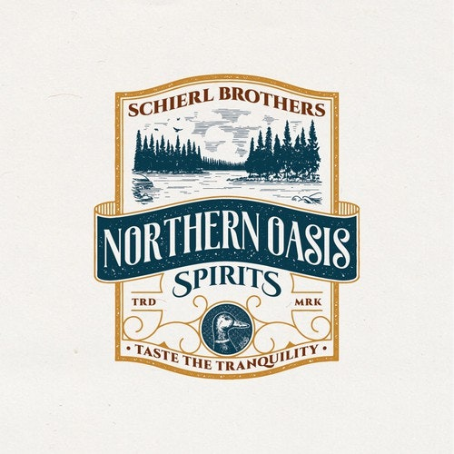 Lake logo with the title 'Vintage Logo for Schierl Brothers Northern Oasis Spirits'