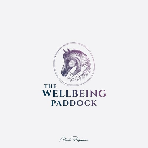 Horse logo with the title 'The Wellbeing Paddock logo representing human connection to nature '