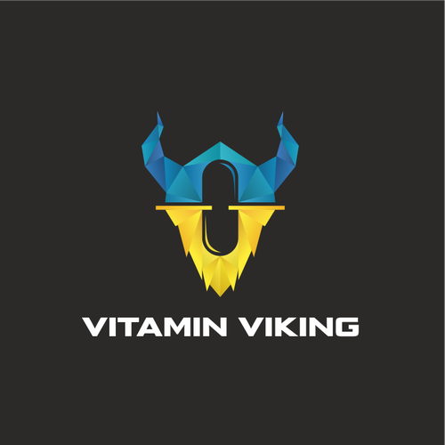 Polygon logo with the title 'Vitamin Viking. Logo for a supplement company '