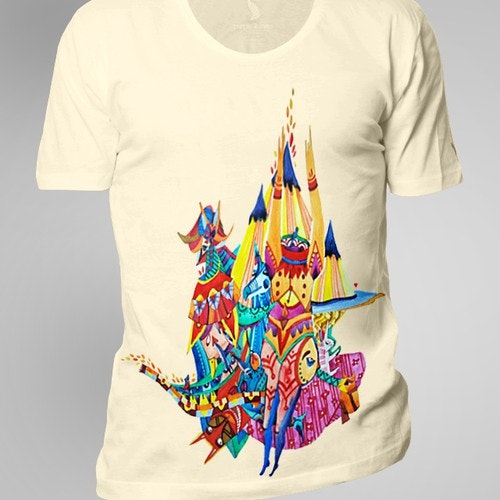 Watercolor t-shirt with the title 'T-shirt design'