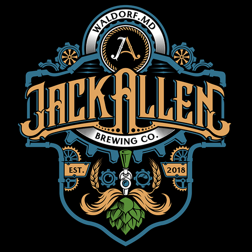 Steampunk logo with the title 'Retro/Steampunk Brewery logo design (Jack Allen Brewing Co.)'