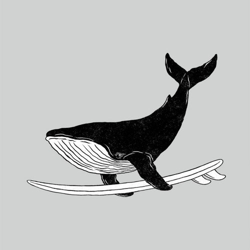 Retail t-shirt with the title 'Surfing Whale'