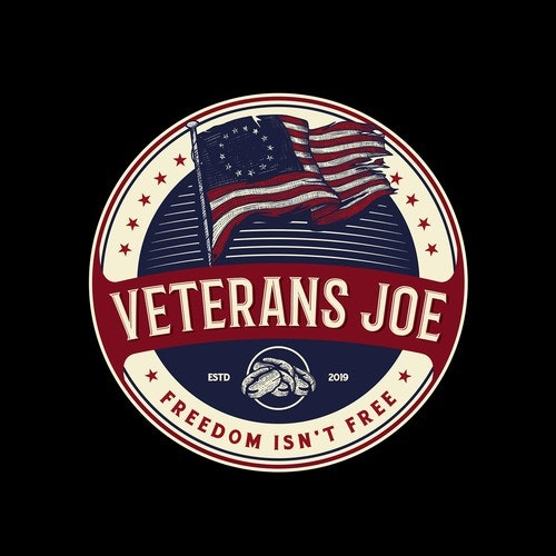 Red logo with the title 'LOGO for Veterans JOE Support our veterans'