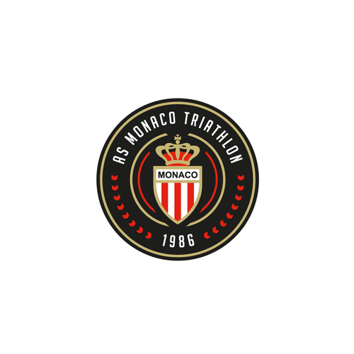 Sports logo with the title 'Clean, minimal, circular logo for AS Monaco Triathlon'