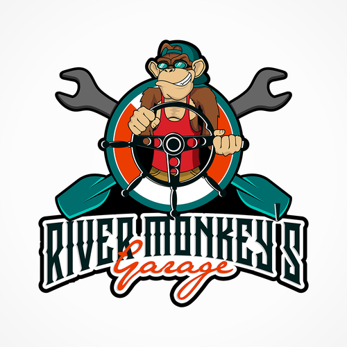 Garage logo with the title 'create a vintage car and boat hotrod, with a modern binkin store and a monkey as the mascot'