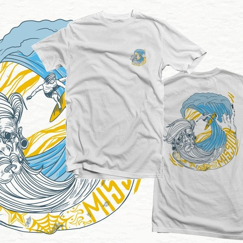 Surfing t-shirt with the title 'The wave'