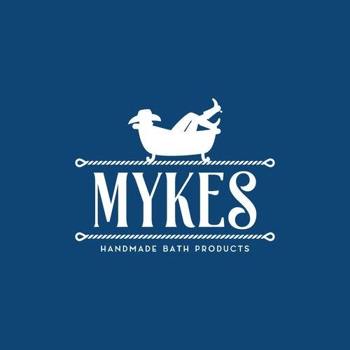Bath logo with the title 'Logo design for Mykes Handmade Bath Products'