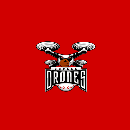 Drone logo with the title 'DuPage Drones Baseball Logo'