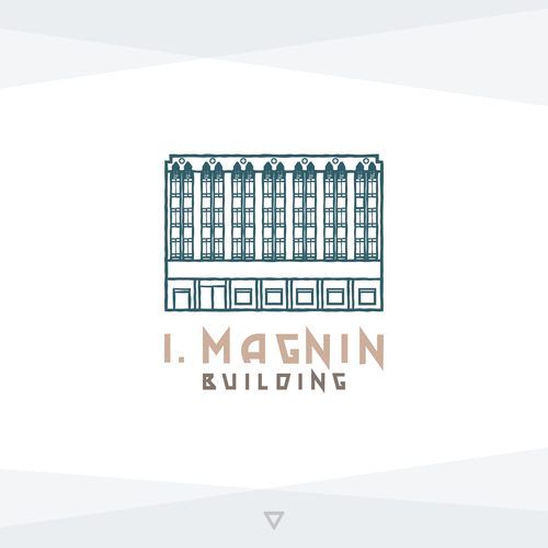 Blue and green logo with the title 'Concept Logo for I. Magnin Building'