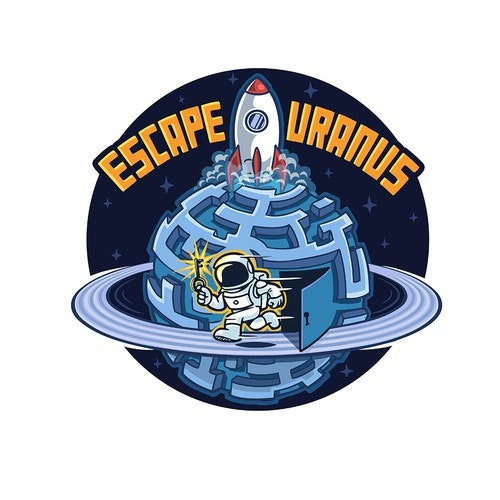 Astronaut logo with the title 'Logo for Escape Uranus '