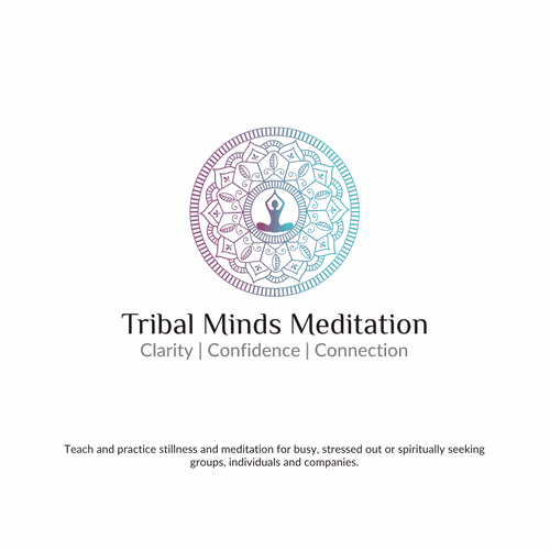 Sacred geometry logo with the title 'Tribal Minds Meditation'