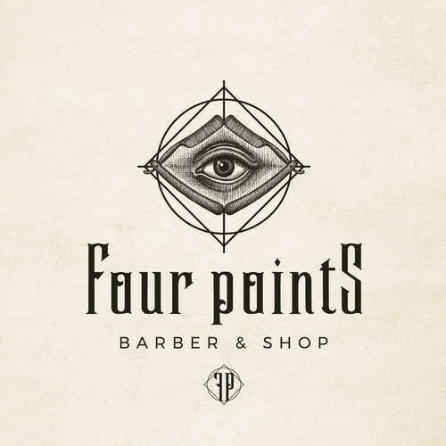 Eye logo with the title 'Brand image for Four Points - Barber & Shop'