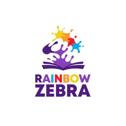Rainbow logo with the title 'Creative logo for Rainbow Zebra'