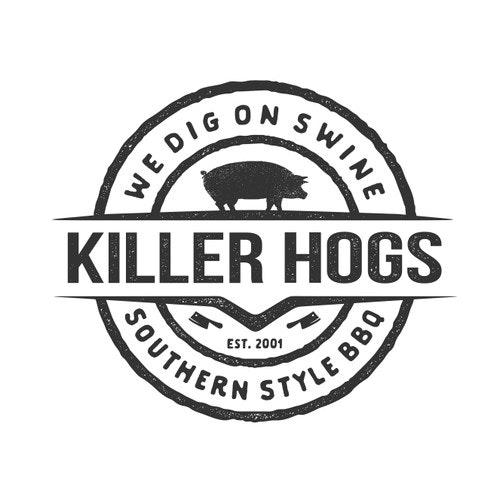 Retro t-shirt with the title 'T-shirt Design For Killer Hogs BBQ'