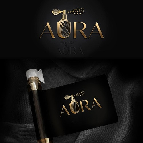 Perfume logo with the title 'AURA'