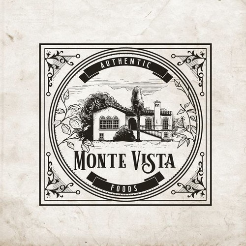 Ornamental logo with the title 'logo for Monte Vista Foods.'