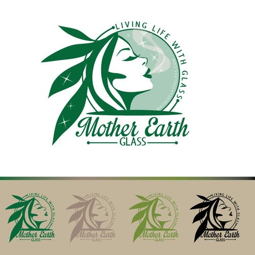 Face logo with the title 'Create the next logo for Mother Earth Glass'