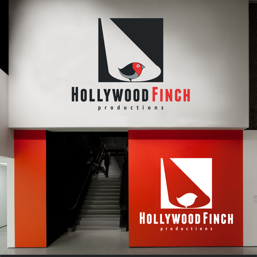 Music production logo with the title 'Hollywood Finch, a new production company.'